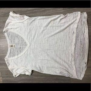 Free People White Distressed Shirt